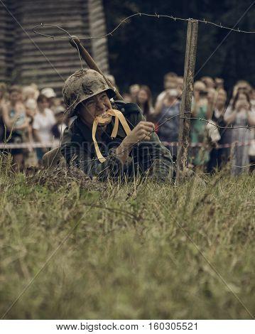 PERM RUSSIA - JULY 30 2016: Historical reenactment of World War II summer 1942. German soldier