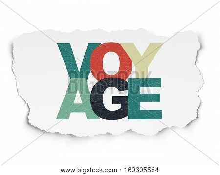 Vacation concept: Painted multicolor text Voyage on Torn Paper background