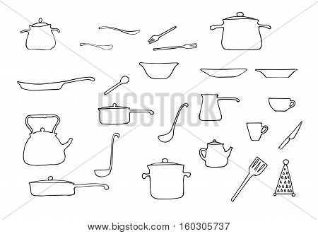 Set of hand drawn vector kitchen utensils - pans,pots,coffee pot,cups,plates,grater, kitchen   spoon,forks,spoons,knife. Line illustration. Isolated on white background.Easy to colorize.