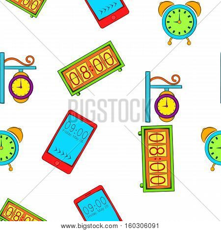 Kinds of watches pattern. Cartoon illustration of kinds of watches vector pattern for web