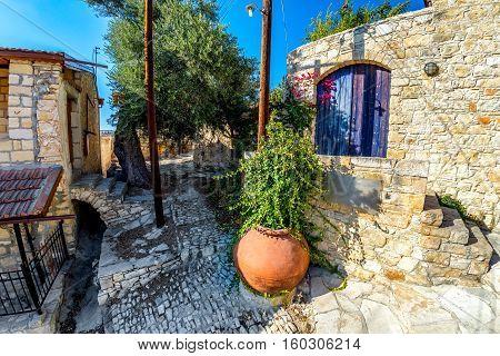 A back street scene in the mediaeval village of Lofou. Limassol District Cyprus.