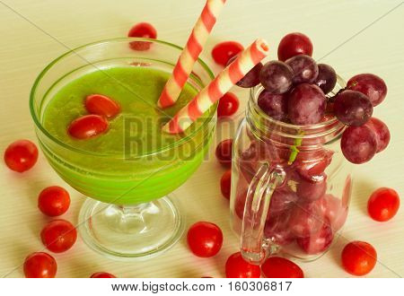 photo avocado juice, and fresh fruit with a Christmas theme