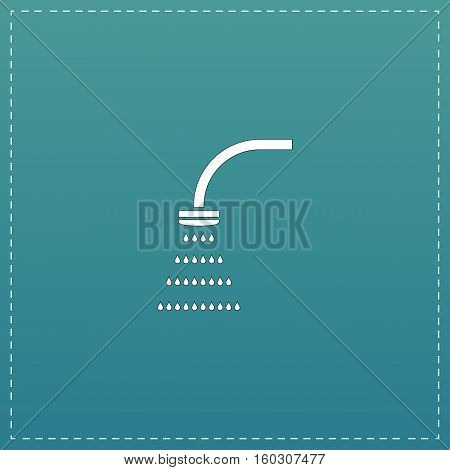 Shower. White flat icon with black stroke on blue background