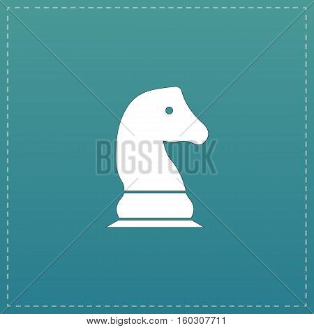 Chess knight. White flat icon with black stroke on blue background