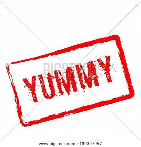 Yummy Red Rubber Stamp Isolated On White Background. Grunge Rectangular Seal With Text, Ink Texture