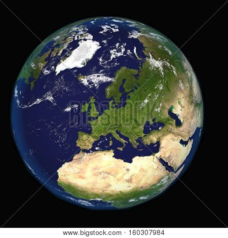 The Earth from space showing Europe and Africa. Other 3d  orientations available.