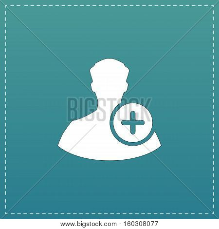 User profile web with plus glyph. White flat icon with black stroke on blue background