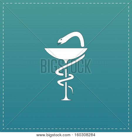 Pharmacy with caduceus, bowl with a snake. White flat icon with black stroke on blue background