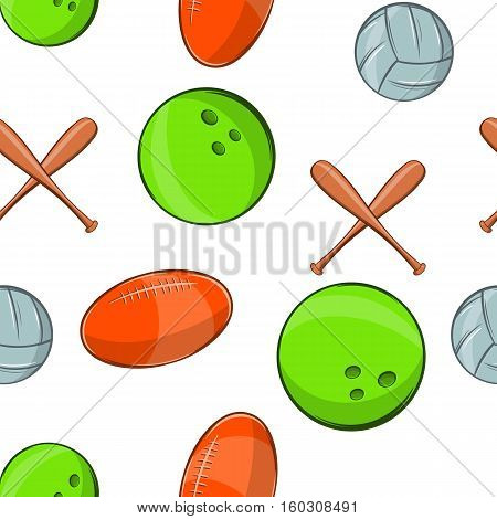 Sports stuff pattern. Cartoon illustration of sports stuff vector pattern for web