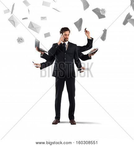 Businessman that to solve problems become multitasking with sheets and letters on background