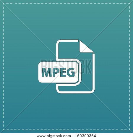 MPEG video file extension. White flat icon with black stroke on blue background