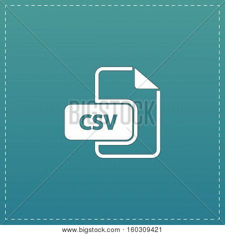 CSV extension text file type. White flat icon with black stroke on blue background