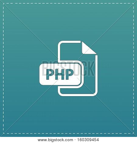 PHP file extension. White flat icon with black stroke on blue background