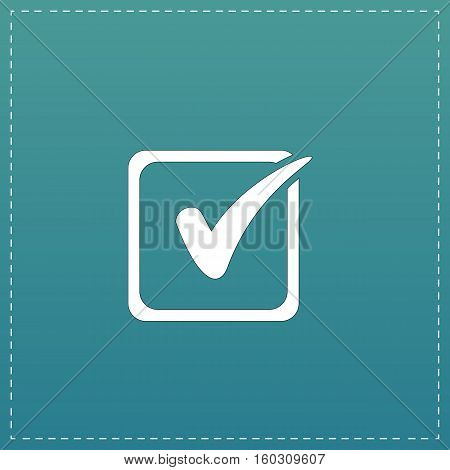 Checklist button - check mark in box sign. White flat icon with black stroke on blue background