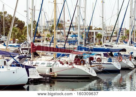 LARNACA CYPRUS - MARCH 03 2016: Numerous fishing and yachts moored in marina.