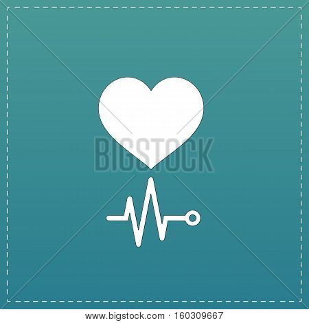 Simple Heart with its cardiogram. White flat icon with black stroke on blue background