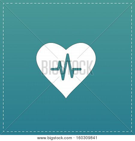 Heart with cardiogram. White flat icon with black stroke on blue background
