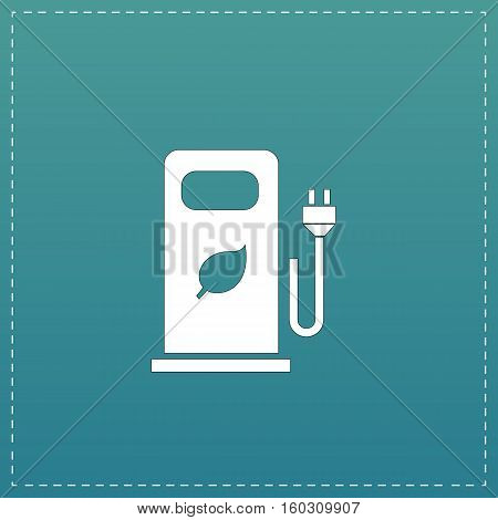 Electric car charging station or Bio fuel petrol. White flat icon with black stroke on blue background