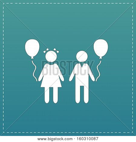 Children and Balloon. White flat icon with black stroke on blue background