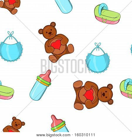 Baby supplies pattern. Cartoon illustration of baby supplies vector pattern for web