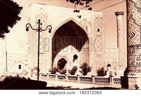 Samarkand Uzbekistan - 1959: Ulugh-beg Madrasah of Registan.