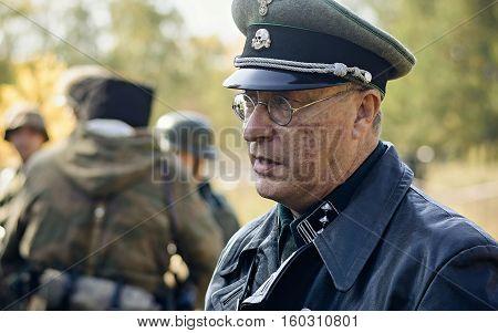 Chelyabinsk, Russia - September 24, 2016: Historical Reenactment Of World War Ii, German Officer