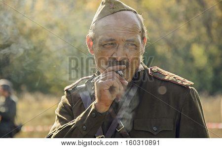 Chelyabinsk, Russia - September 24, 2016: Historical Reenactment Of World War Ii, Soviet Officer