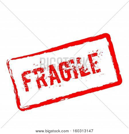 Fragile Red Rubber Stamp Isolated On White Background. Grunge Rectangular Seal With Text, Ink Textur
