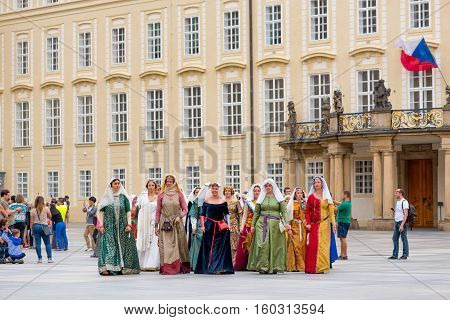 RAGUE CZECH REPUBLIC - SEPTEMBER 04 2016: Noble Women at Celebration of the 700th anniversary of King Charles IV's coronation.
