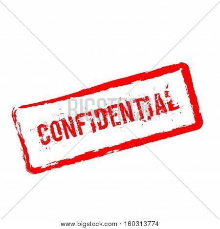 Confidential Red Rubber Stamp Isolated On White Background. Grunge Rectangular Seal With Text, Ink T
