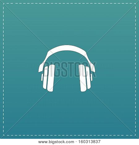 Retro headphone. White flat icon with black stroke on blue background