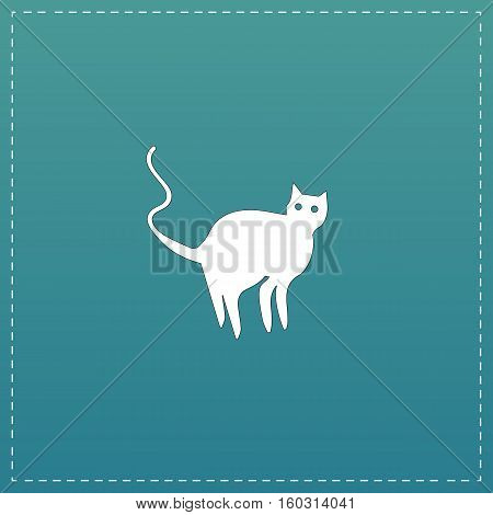Evil Cat silhouette. White flat icon with black stroke on blue background