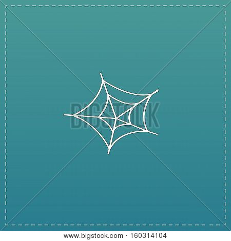 Spiderweb. White flat icon with black stroke on blue background