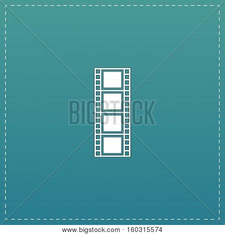 Cinematographic film. White flat icon with black stroke on blue background