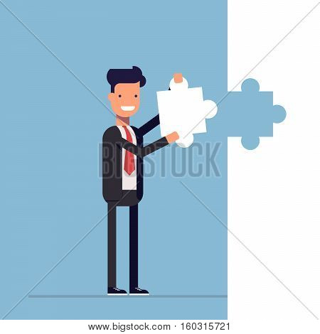 Businessman or manager puts the last piece of the puzzle. Shutdown. Solution. Happy man in a business suit. Vector, illustration EPS10