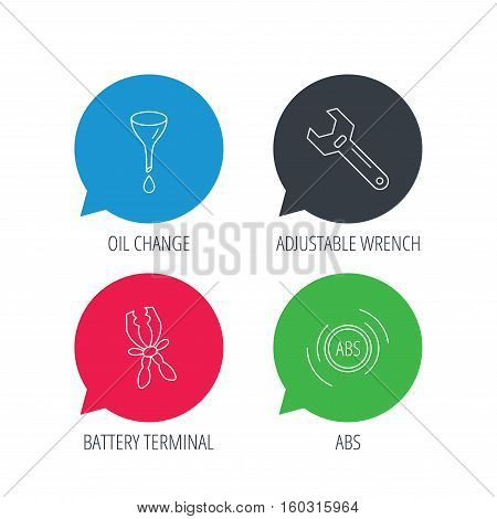 Colored speech bubbles. Adjustable wrench, oil change and abs icons. Battery terminal linear sign. Flat web buttons with linear icons. Vector