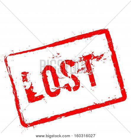 Lost Red Rubber Stamp Isolated On White Background. Grunge Rectangular Seal With Text, Ink Texture A