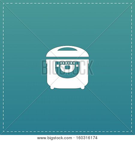 Electric Cooker. White flat icon with black stroke on blue background