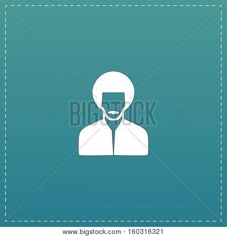 Rastafarian man. White flat icon with black stroke on blue background