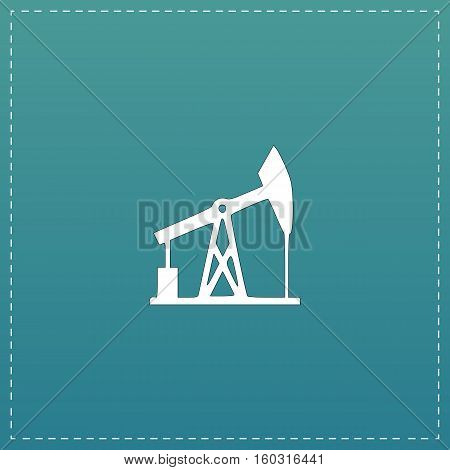 Oil derrick. White flat icon with black stroke on blue background