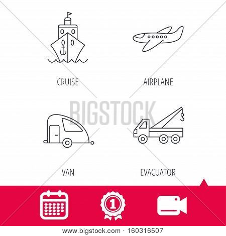 Achievement and video cam signs. Transportation icons. Cruise, airplane and van linear signs. Evacuator flat line icon. Calendar icon. Vector