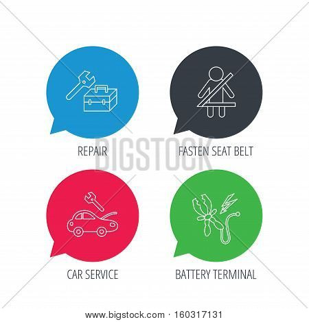 Colored speech bubbles. Repair, battery terminal and car service icons. Fasten seat belt linear sign. Flat web buttons with linear icons. Vector