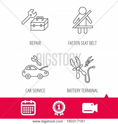 Achievement and video cam signs. Repair, battery terminal and car service icons. Fasten seat belt linear sign. Calendar icon. Vector