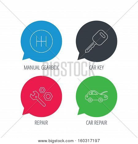 Colored speech bubbles. Car key, repair tools and manual gearbox icons. Car repair, transmission linear signs. Flat web buttons with linear icons. Vector