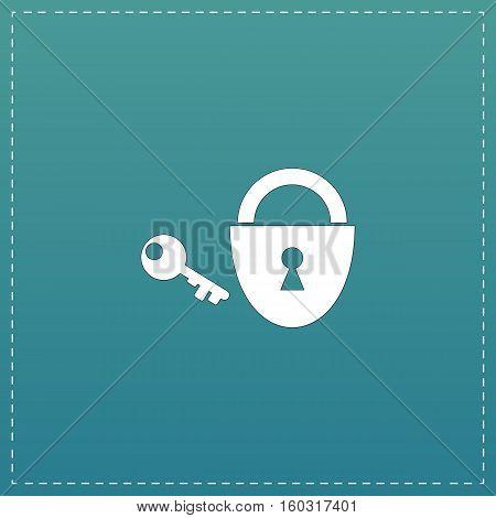 Padlock and key. White flat icon with black stroke on blue background
