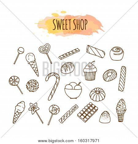 Candy shop elements. Sweets and candies sketch. Pastry illustration. Hand drawn vector set. Baking clip art