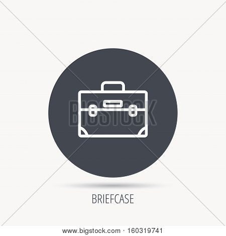 Briefcase icon. Businessman case or diplomat sign. Hand baggage symbol. Round web button with flat icon. Vector