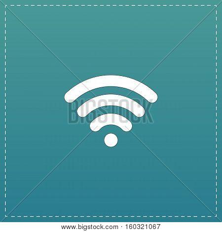 Free wi fi. White flat icon with black stroke on blue background