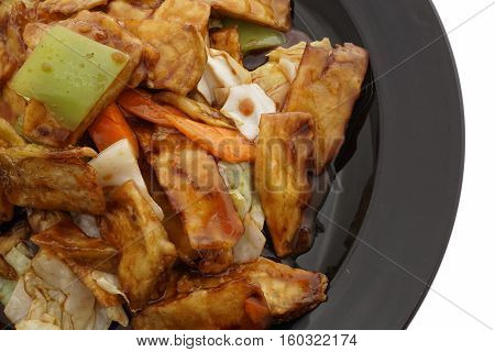 Chinese Food. Fried Aubergines With Vegetables