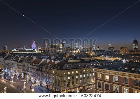 Warsaw downtown during the night in winter time, Poland